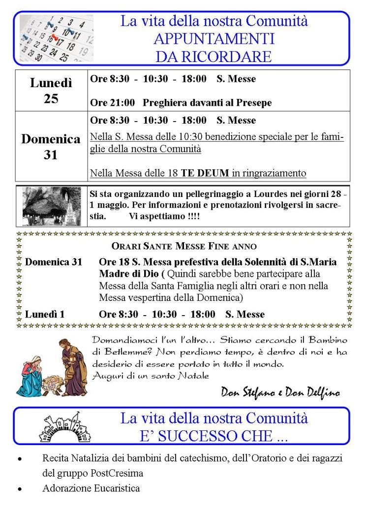 Appuntamenti settimanali 25-31 Dicembre