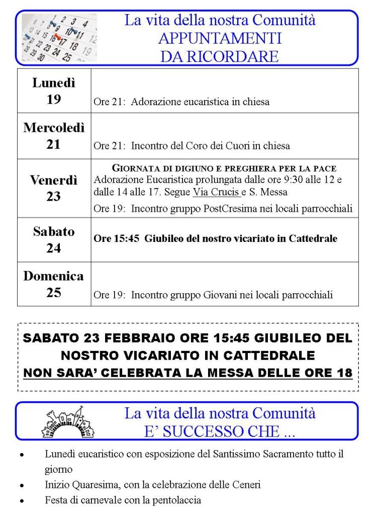 Appuntamenti settimanali 19 - 25 Febbraio