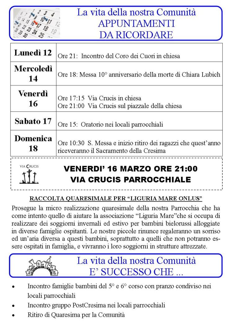 Appuntamenti settimanali 12 - 18 Marzo
