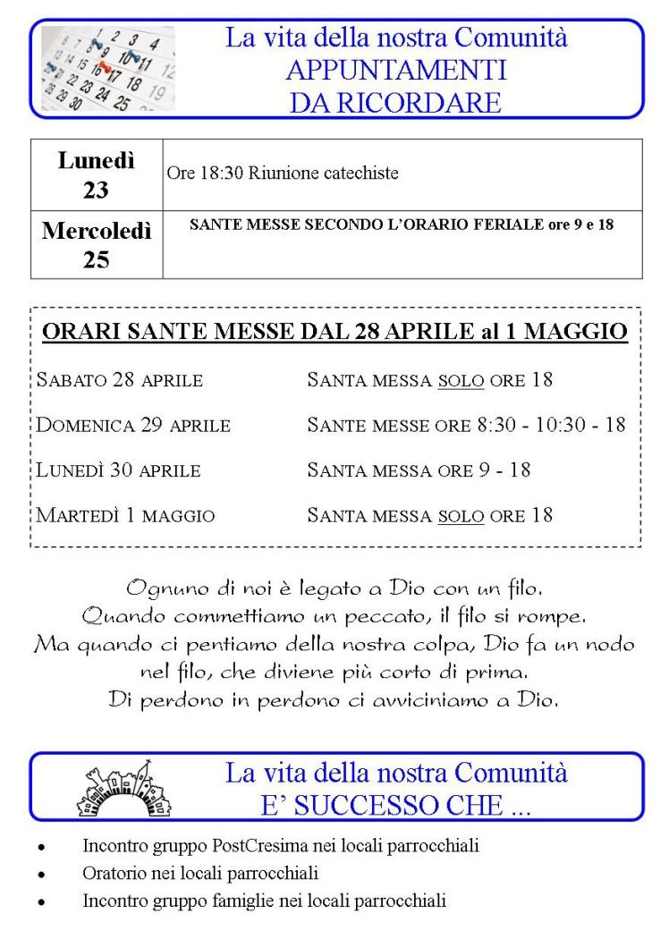 Appuntamenti dal 23 al 29 Aprile