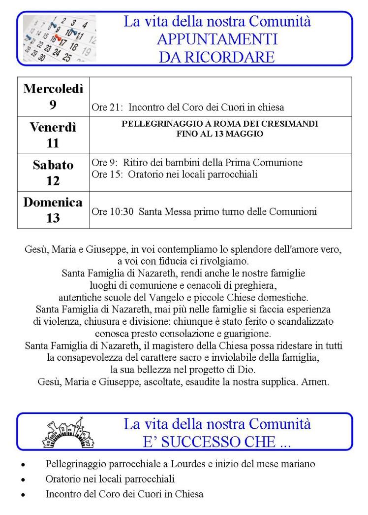 Appuntamenti settimanali 07-13 Maggio