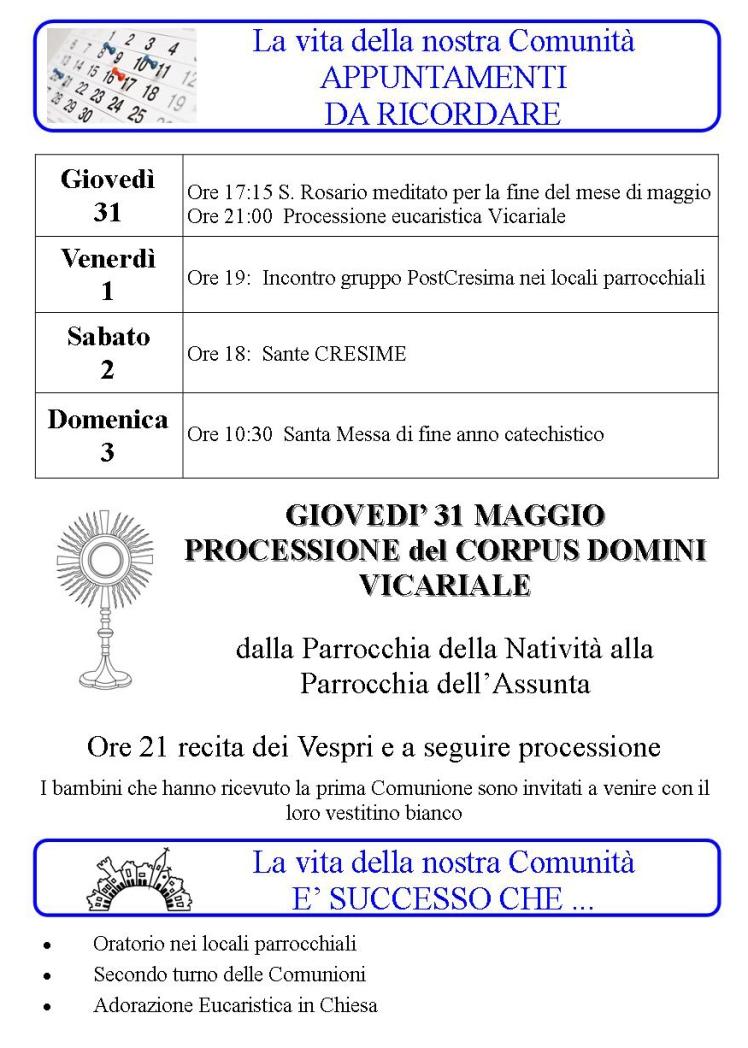 Appuntamenti settimanali 28 Maggio - 03 Giugno