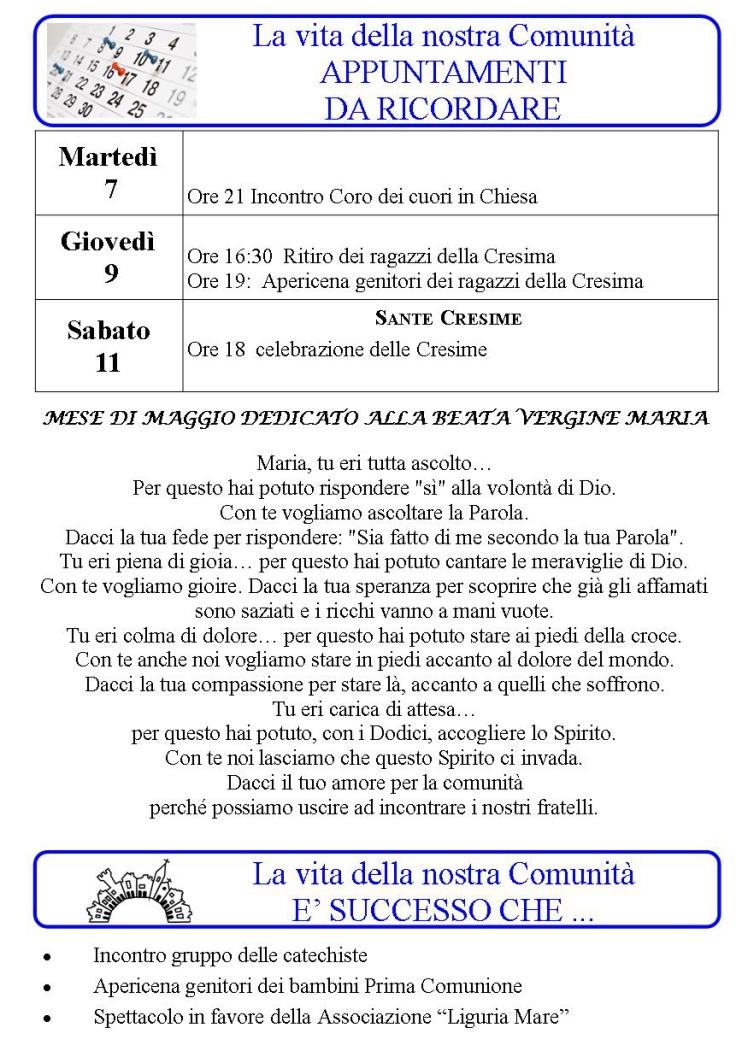 Appuntamenti settimanali 06 - 12 Maggio