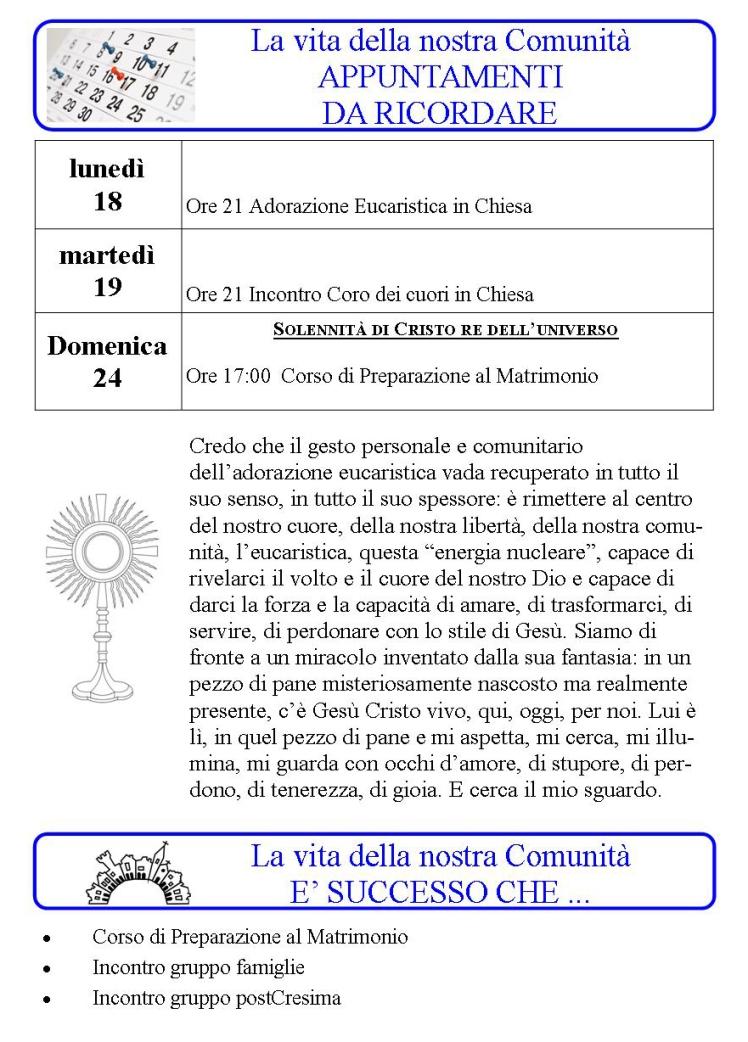 Appuntamenti settimanali 18 - 24 Novembre